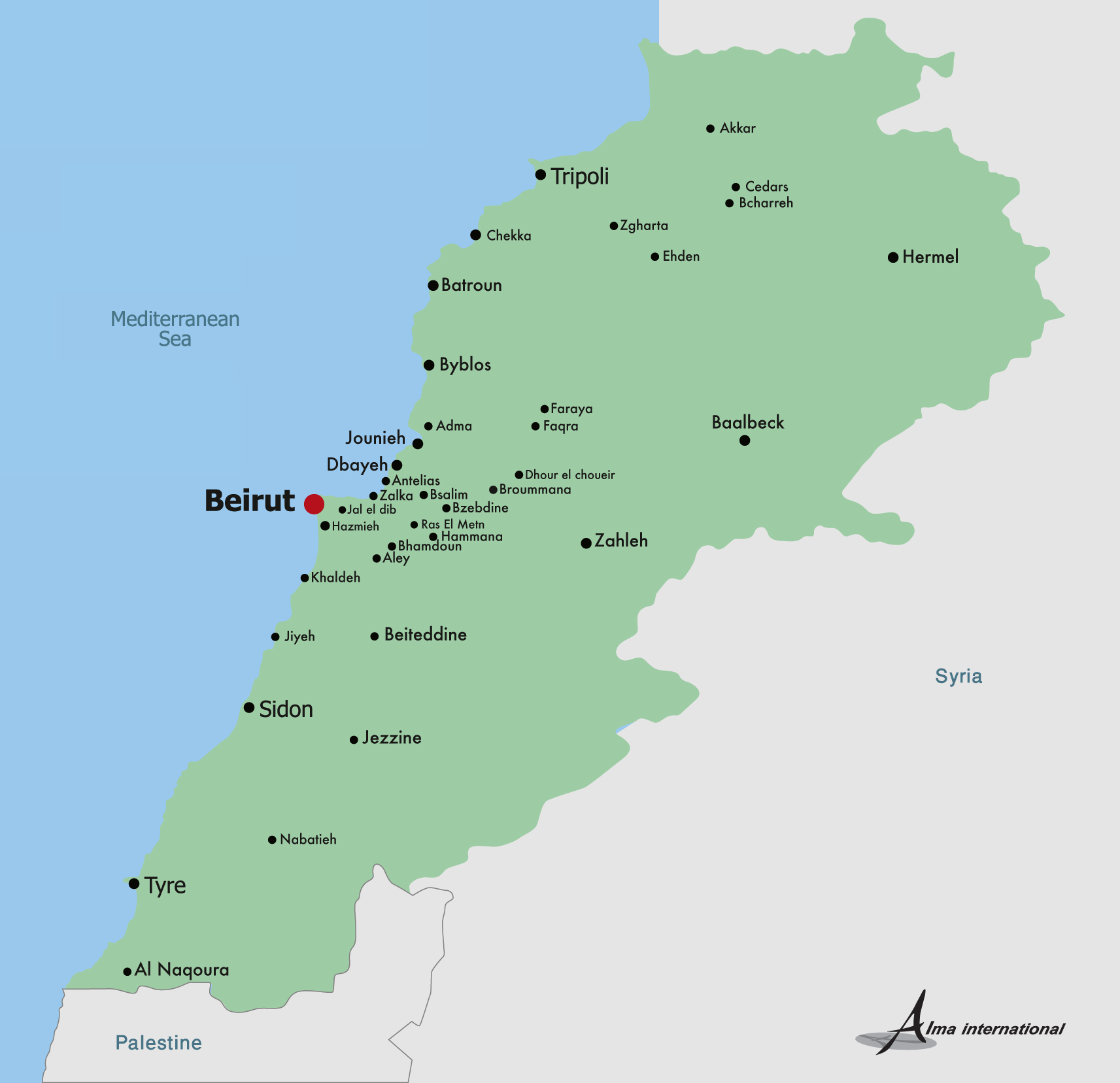 Map of Lebanon Lebanon Map